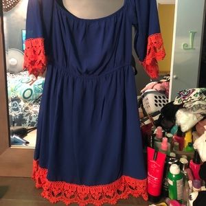 Cute orange and blue dress.